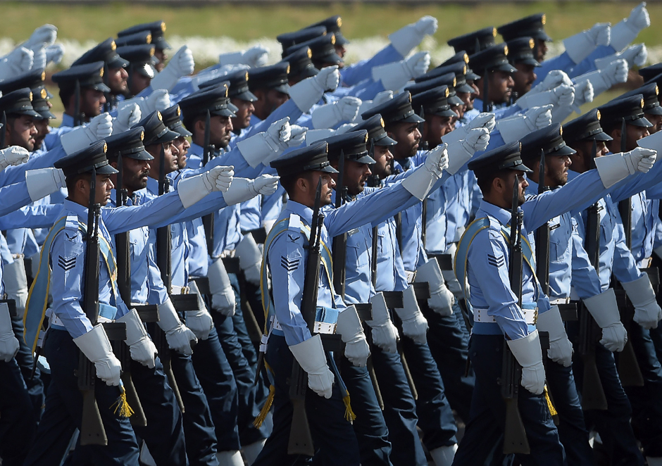 Air Force soldiers march past during a Pakistan Day military parade in Islamabad. PHOTO: AFP