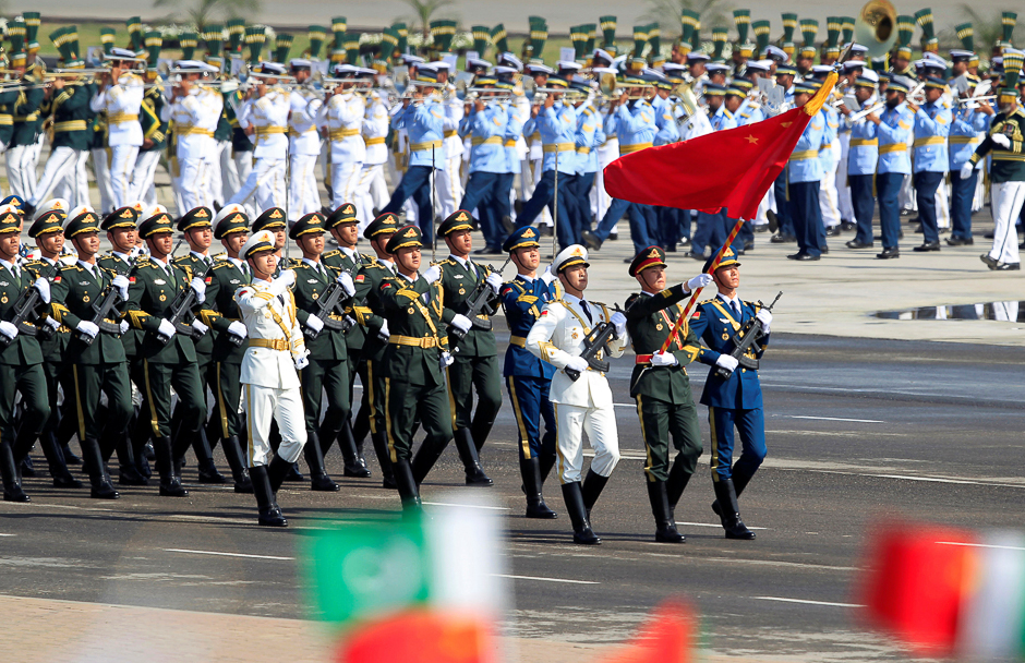 Chinese troops march as they take part in Pakistan Day military parade in Islamabad. PHOTO: REUTERS