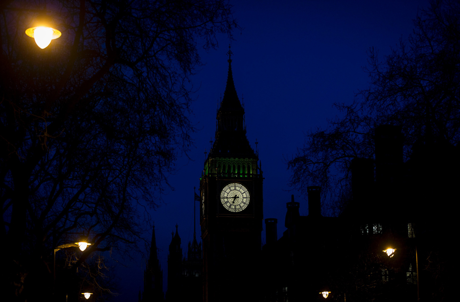 "The Great Clock of the Elizabeth Tower, better known as ""Big Ben"", is pictured at dusk in central London in the aftermath of a terror incident at the Houses of Parliament. PHOTO: AFP"