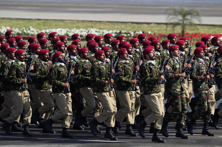 Commandos from the Special Services Group (SSG) march during Pakistan Day military parade in Islamabad. PHOTO: REUTERS