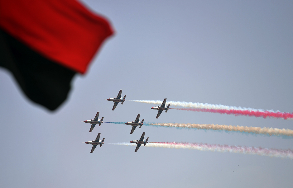 Jets perform aerobatic manouvers during a Pakistan Day military parade in Islamabad. PHOTO: AFP