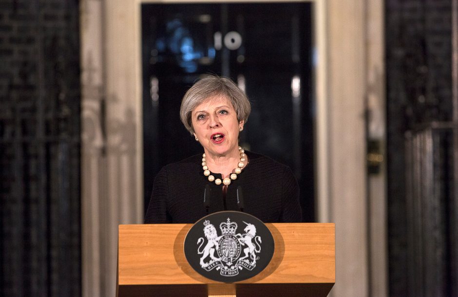 Britain's Prime Minister Theresa May makes a statement at Downing street in London, Britain. PHOTO: REUTERS