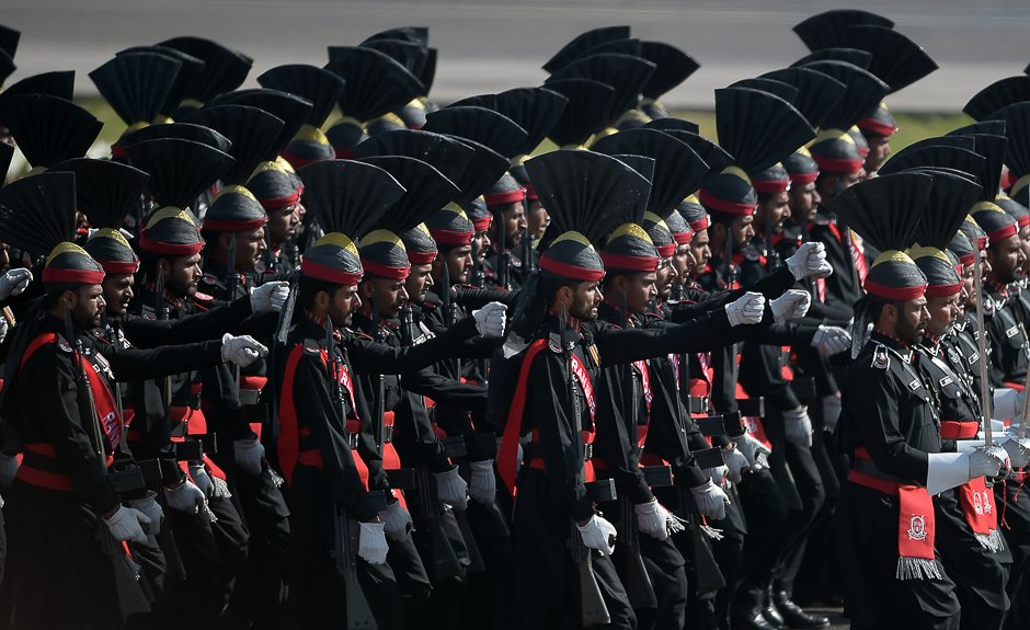 Border soldiers march past during a Pakistan Day military parade in Islamabad. PHOTO: AFP
