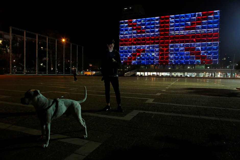The building of the city hall in Tel Aviv's Rabin square in Israel is illuminated in solidarity with Britain for the attack. PHOTO: REUTERS
