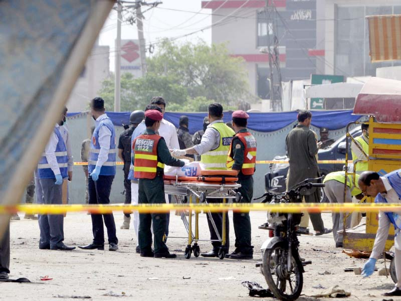 The site of the deadly Bedian suicide blast that killed six people has been cordoned off. Medics were scrambled to the scene to rush the injured to medical facilities  PHOTO: AFP/ONLINE