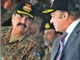 Prime Minister Nawaz Sharif with former army chief Raheel Sharif. PHOTO: ONLINE