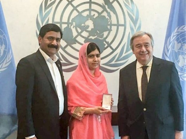Malala Yousafzai with the United Nations Secretary General Antonio Guterres. PHOTO: UNITED NATIONS