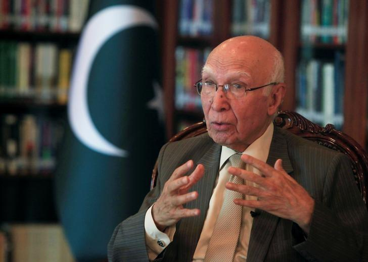adviser-to-pakistans-prime-minister-on-national-security-and-foreign-affairs-sartaj-aziz-speaks-during-an-interview-with-reuters-in-islamabad-2