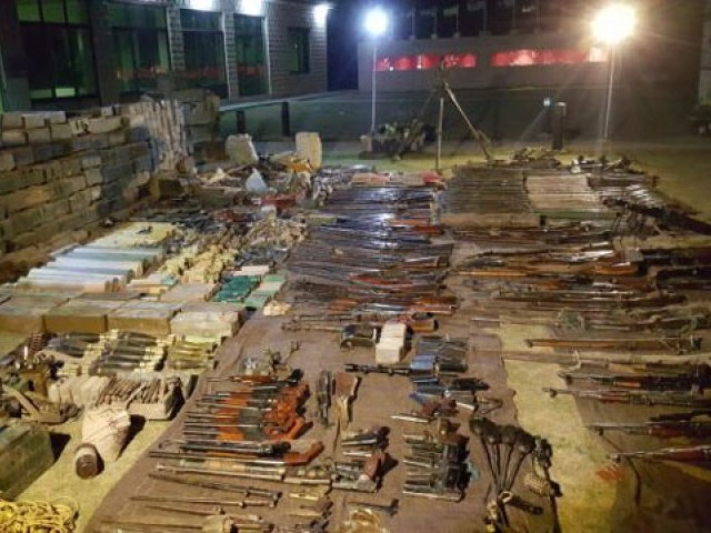 Photo shows a huge cache of arms  recovered from Parachinar, Kurram Agency on Sunday, April 16, 2017. PHOTO: ISPR
