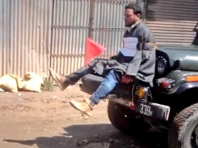 Videograb shows a Kashmiri youth being tied to an Indian Army jeep in held Kashmir. PHOTO: TWITTER