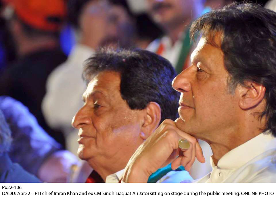 Pakistan Tehreek-e-Insaf chief Imran Khan during a party rally in Dadu. PHOTO: ONLINE