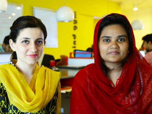 Two Pakistani female entrepreneurs – Shanza Khan and Rabab Fatima – have recently developed clinical software, aimed at assisting people with speech disorders. PHOTO: FACEBOOK NEST I/O