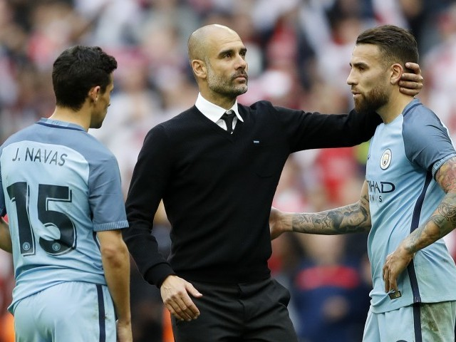 Image result for nicolas otamendi and pep guardiola
