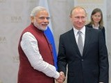 Indian Prime Minister Narendar Modi with Russian President Vladimir Putin. PHOTO: AFP