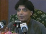 Interior Minister Chaudhry Nisar speaks at a news conference in Karachi on Saturday. PHOTO/EXPRESS NEWS SCREEN GRAB