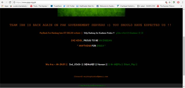 PPP website defaced by 'Indian hackers'