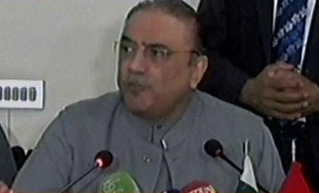 Asif Ali Zardari addresses the media. EXPRESS NEWS SCREENGRAB