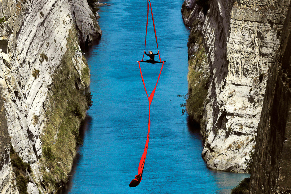 Greek choreographer and dancer Katerina Soldatou performs above the Corinth Canal, as part of the Greece Has Soul project in Corinth. PHOTO: AFP