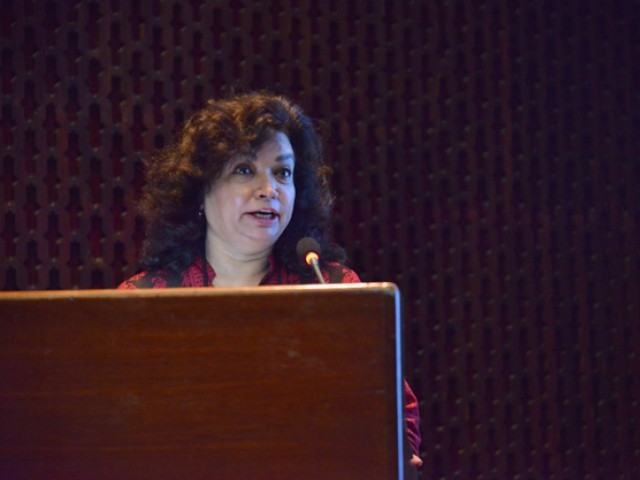 Director of the Museum and Art Gallery Department, State Bank of Pakistan, Asma Ibrahim spoke on the occassion. PHOTO: Courtesy AKUH