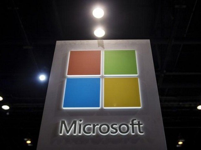The Microsoft logo is seen as part of a display at the Microsoft Ignite technology conference in Chicago, Illinois, May 4, 2015. PHOTO: REUTERS