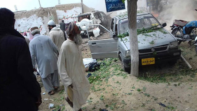 The aftermath of the attack in Mastung. PHOTO: EXPRESS