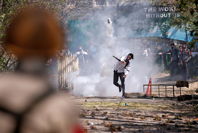 File photo of a protester in Indian-held Kashmir. PHOTO: REUTERS