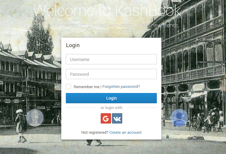 The login page of KashBook features a black-and-white photograph of Srinagar's Hari Singh Street, taken sometime in the early 20th century. PHOTO: KASHBOOK