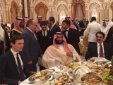 General Raheel Sharif dining with Donald Trump's son-in-law Jared Kushner and Saudi Crown Prince and Defence Minister Muhammad Bin Salman. PHOTO: Twitter