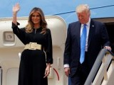 US President Donald Trump and first lady Melania Trump arrive aboard Air Force One at King Khalid International Airport in Riyadh, Saudi Arabia May 20, 2017. PHOTO: REUTERS