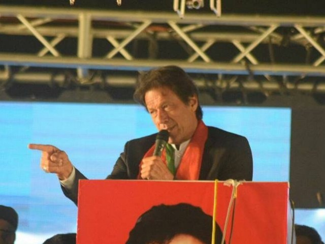 A file photo of PTI chief Imran Khan addressing a gathering in Islamabad. PHOTO: PTI