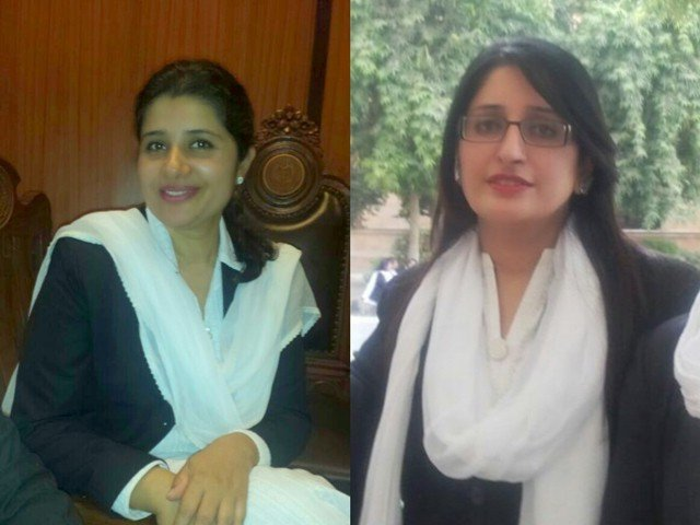 Ambreen Nawaz Chaudhry (left) and Aaliya Zareen Abbasi (right) began practising law in 2002. PHOTO: EXPRESS