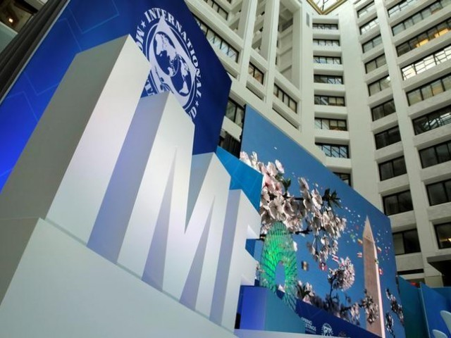 The International Monetary Fund logo is seen during the IMF/World Bank spring meetings in Washington, US. PHOTO: REUTERS