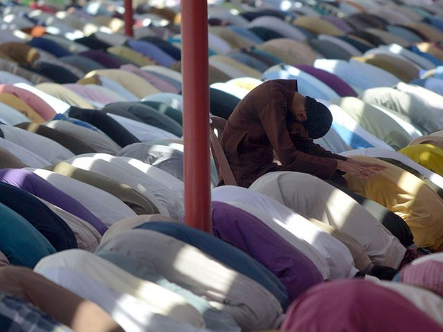 Special prayers were offered in small and major mosques, grounds and public places in the capital city of Muzaffarabad. PHOTO: EXPRESS