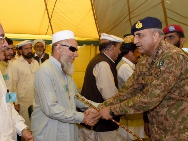 The COAS meets with tribal elders in Parachinar on Friday, June 30, 2017. PHOTO: ISPR