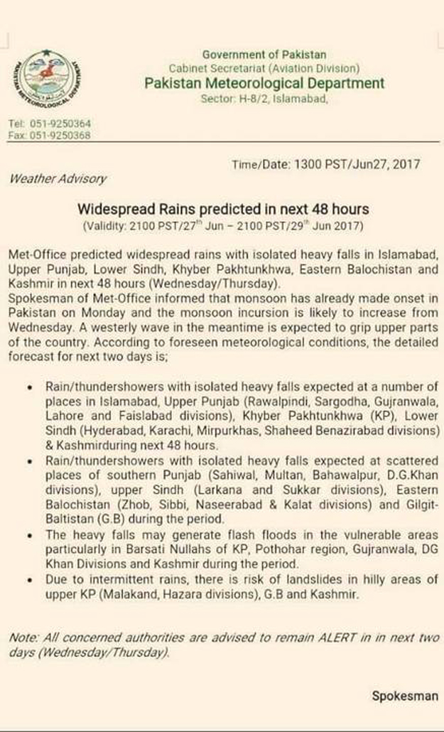 Karachi braces for rain as Met dept predicts showers across country