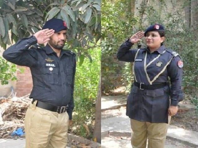 In a show of mutual respect—and above all admiration—ASI) Ismael and his wife ASI Zaneera Kanwal Malik salute each other each morning before leaving for work in their native town of Layyah district near Multan. PHOTO: Facebook