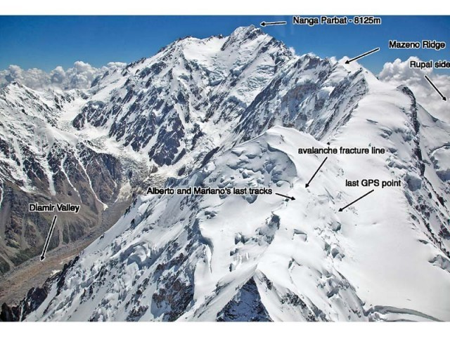 Image shows what rescuers believe are Alberto Zerain and Mariano Galvan's last tracks before the avalanche on Mazeno Ridge while climbing Nanga Parbat. PHOTO: REUTERS