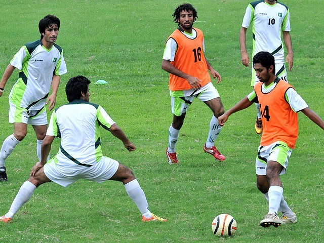 DISMAL CONDITON: Saadullah thinks that the national team not playing for two years and no domestic league in Pakistan put football in an embarrassing situation. PHOTO: AFP