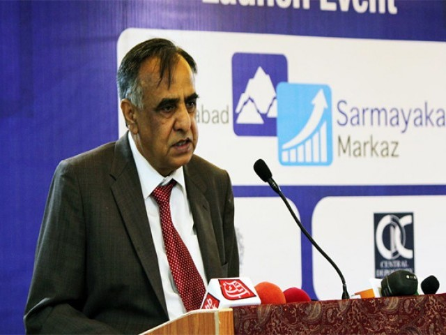 Securities and Exchange Commission of Pakistan (SECP) chairman Zafar Hijazi addressing a gathering. PHOTO: ONLINE / FILE