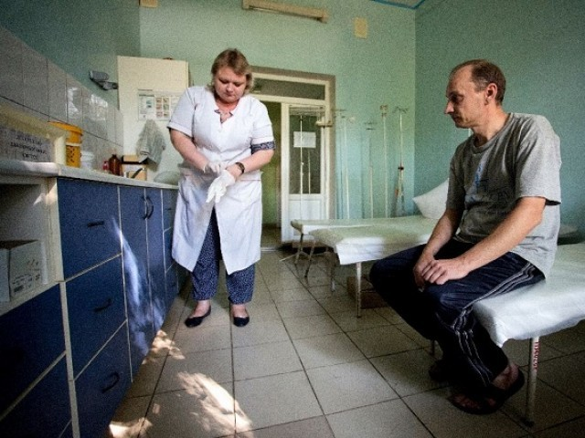 A patient waits in a hospital treating drug users in the rebel capital of Donetsk, Ukraine. PHOTO: AFP