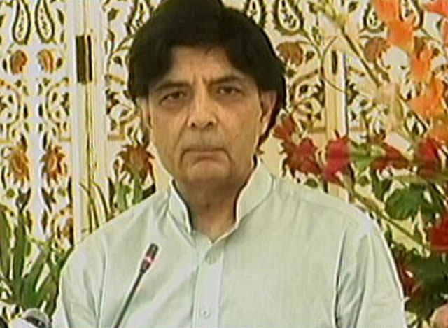Interior Minister Chaudhry Nisar Ali Khan addresses a press conference in Islamabad on Thursday, July 27, 2017. EXPRESS NEWS SCREENGRAB