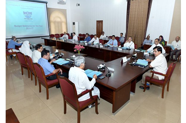 UVAS Vice Chancellor Talat Naseer Pasha chairing a meeting. PHOTO: EXPRESS