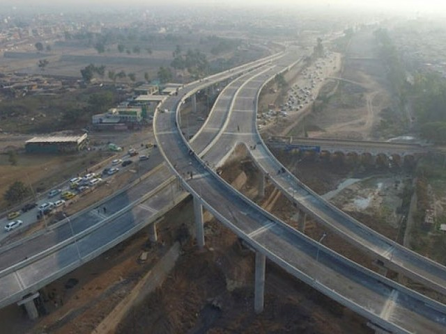A view of the Bab-e-Peshawar Flyover inaugurated last year. PHOTO: PTI