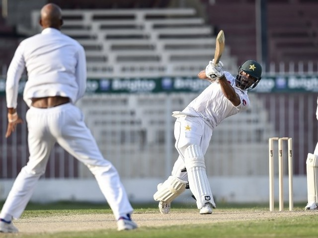 CONTROLLING NERVES: Shan Masood believes playing on foreign pitches becomes easier if you can learn to handle pressure. PHOTO: AFP