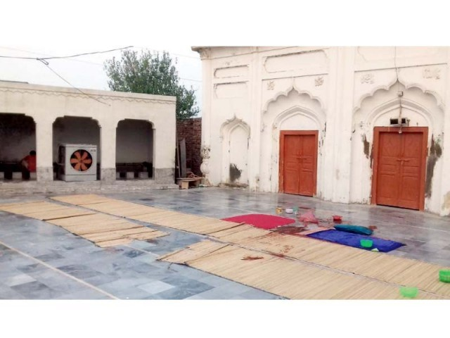The inner view of the mosque where the incident took place. PHOTO: EXPRESS