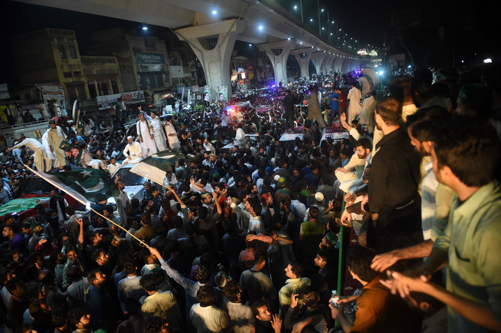 Supporters and activists of ousted Pakistani prime minister Nawaz Sharif march with him in a rally in Rawalpindi on August 9, 2017. Deposed Pakistani prime minister Nawaz Sharif is leading a rally from the capital Islamabad to his home in Lahore, following his ouster by the Supreme Court following a corruption probe. PHOTO: AFP