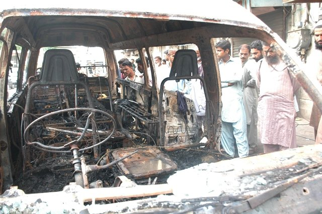 The six victims who died in the fire could not exit the vehicle because the doors were jammed. PHOTO: RASHID AJMERI/EXPRESS
