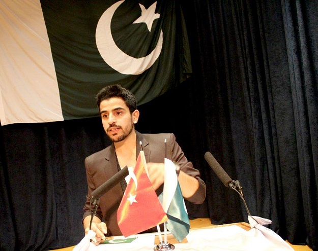 Arsalan giving a speech in Turkey on Pakistan's Independence Day.