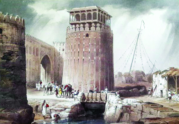 An illustration titled 'The Round Tower - Fort Hyderabad'. PHOTO: COURTESY SINDH CULTURE DEPARTMENT