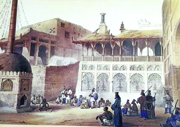 An illustration of Lal Shahbaz Qalandar's shrine in Sehwan as it was in mid-1800s. PHOTO: COURTESY SINDH CULTURE DEPARTMENT
